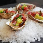 Recipe: Oysters with Tuna Tartare by Golden Palate Boathouse in Traverse City, Michigan!