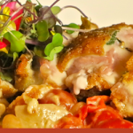 Recipe: Pollo con Salvia e Prosciutto Roasted Sage Chicken Stuffed with de Parma Prosciutto & Aged Fontina Cheese, Cherry Tomatoes, Wild Mushrooms & Cannellini Beans, Topped with Crispy Capers by Michael's on East (Sarasota, FL)