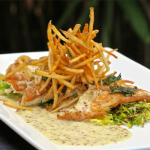 Butter Roasted Flounder with Grain Mustard Beurre Blanc, Brown Butter Sage, Toasted Almonds, Sautéed Brussel Sproute & Potato Allumettes by Michael's on East, Sarasota, Florida