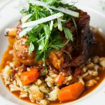 Slow Braised Heritage Pork Shank Ossobuco and Risotto alla Parmigiano by Chef Vincenzo Betulla (Osteria Tulia, Naples, FL)