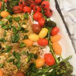 """Recipe: Sheet Pan Honey Basil Salmon by Guest Contributor Sylvia Fallas """"Cooking For My People"""""""
